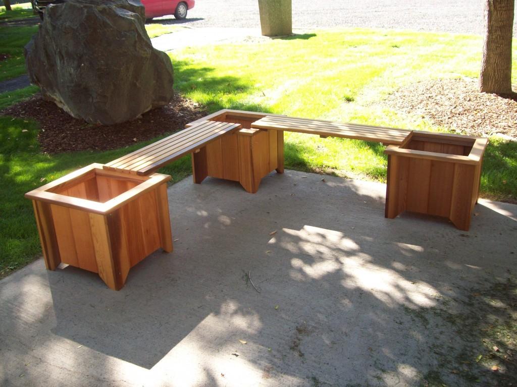 Cedar planter bench